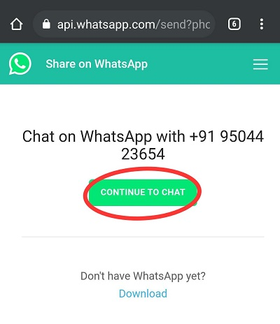 send WhatsApp message to someone not in contacts