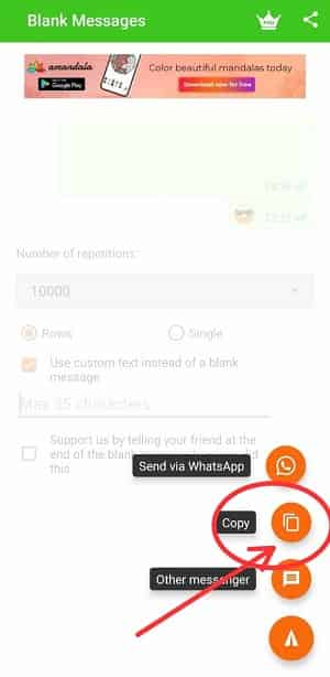 how to send blank message in whatsapp